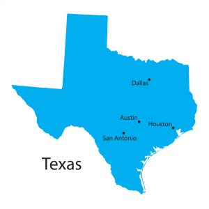 map of Texas showing location of 4 major cities